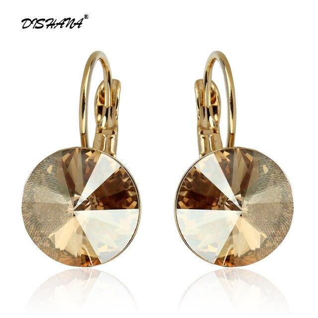 2016 Joyería de Moda Oro color Pendiente Para Las Mujeres Pendientes de Gota de Cristal Austriaco Púrpura Piedra Pendientes Mujer Moda Earing E0001