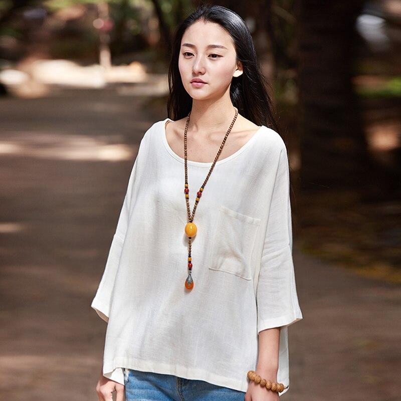 Nueva Sólido Del O-cuello de Lino Blusas de Las Mujeres Camisas Blancas Más gra