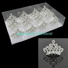 12pcs/pack Transparent Color Mini Princess Crown Crystal Rhinestone Diamond Hair Comb Bridal Tiaras Girls&Kids Headwear