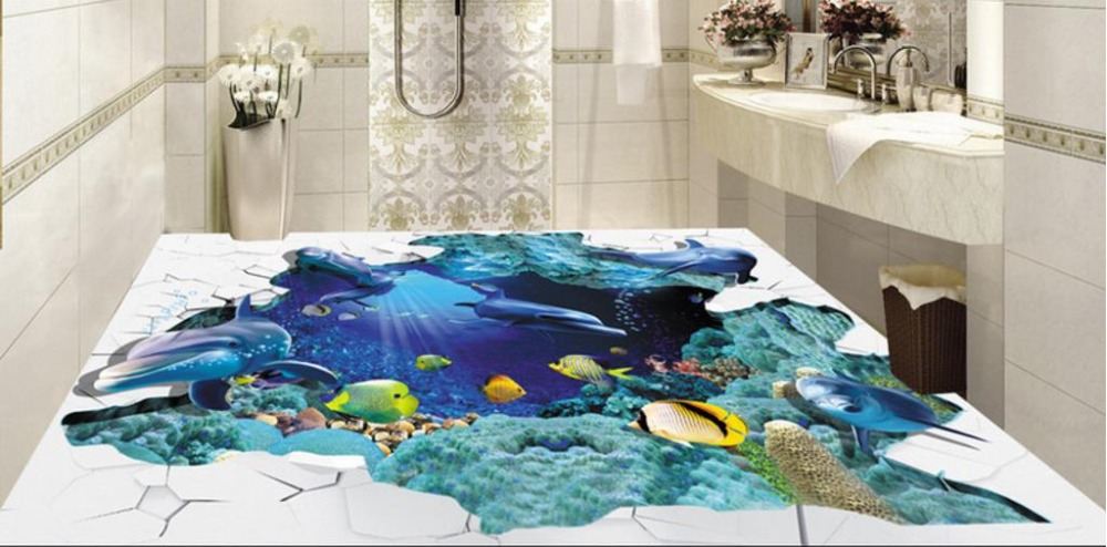 3D Flooring Wallpaper For Walls Stereoscopic Underwater World Backdrop 3D Vinyl Floor Murals Wall Murals For Living Room 3d flooring underwater murals hd coral 3d floor wallpaper for bedroom walls vinyl floor wallpaper 3d for children room