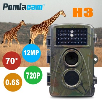 12MP 720P Digital Scouting Hunting Camera H3 Wildlife Trail Game Camera Surveillance Camera 65ft Night Vision 0.6s Trigger Time