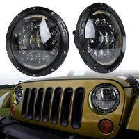 For Hummer H1 H2 Led Headlight 60w 7 Inch LED Headlights High Low Beam White DRL Amber Turn Signal for Jeep Wrangler JK Lamp