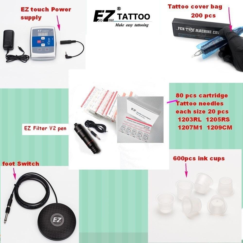 EZ Tattoo Supply Kits Red Filter Pen Cartridge Tattoo Needles Foot Switch Powe Supply Ink Cups for tattooist   new product  Tatt new blue rca rotray swiss motor halo2 tattoo machine gun cartridge grip clip cord for tattoo pen needles supply hcm04 be