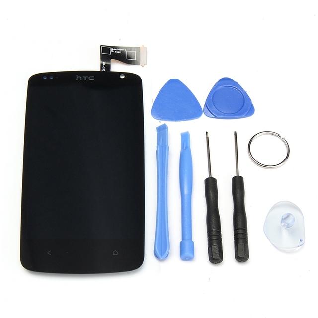 Portátil substituição display lcd + touch screen digitador assembléia vidro para htc desire 500 outer frente de vidro ferramentas gratuitas