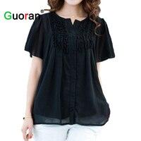 Top Tees Quality Plus Size Loose Chiffon T Shirt Short Sleeve Stringy Selvedge Korean Fat Women