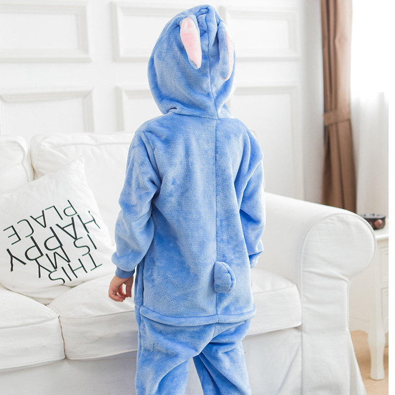 2018 New Blue Pajamas kids winter animal cartoon Stitch onesie costume child boys girls pyjama christmas kids pajama sets
