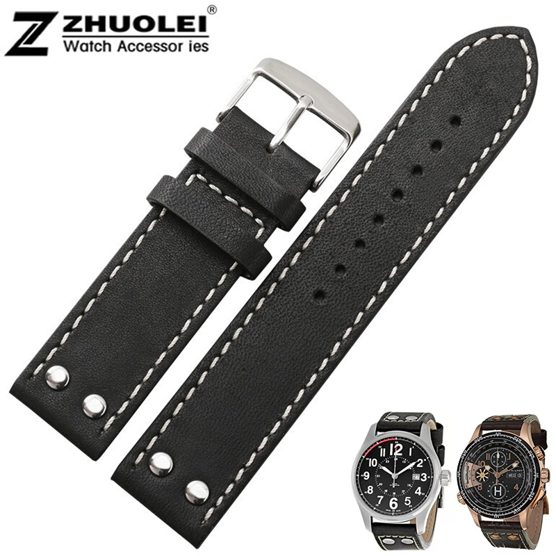 купить 20mm 22mm New men's high quality Genuine Leather Watch Band Strap Bracelets Silver Stainless Steel Buckle Clasp For Hamilton по цене 1019.96 рублей