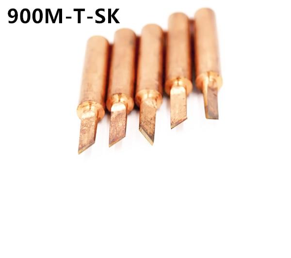 SZBFT 5piece 900M-T-SK Lead-free Red Copper Pure Cupper Solder Tip  For Hakko 936 FX-888D Saike 909D 852D+ 952D Diamagnetic DIY