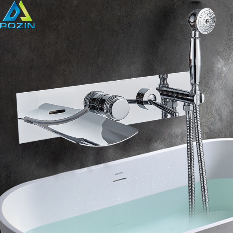 Wall Mounted Chrome Waterfall Bathtub Faucet Set Single Handle with Handshower Bath Shower Mixers LED light