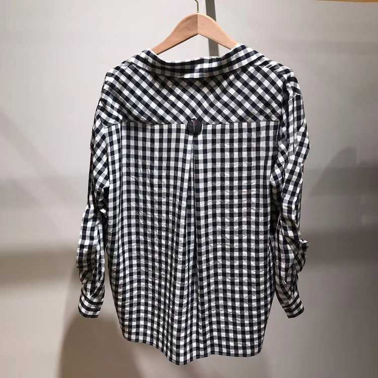 2019 nouveau noir et blanc plaid goutte épaule manches dentelle blouse décorative - 3