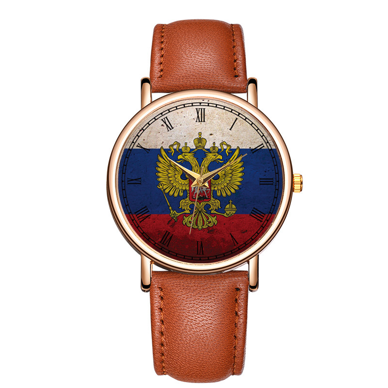 Classic Fashion Russian National Emblem Quartz Wrist Watch Leather Double Eagle Bracelet Watch Relogio Masculino