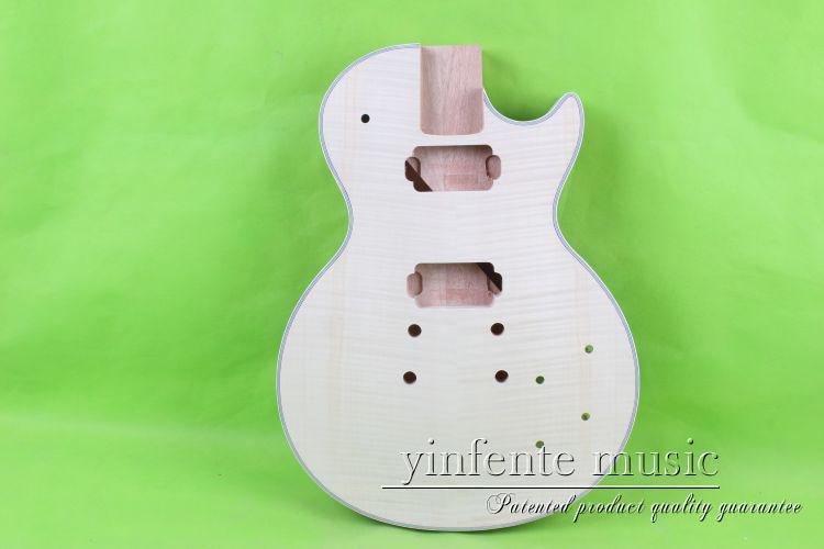 Unfinished electric guitar body  mahogany  made   maple maple  top