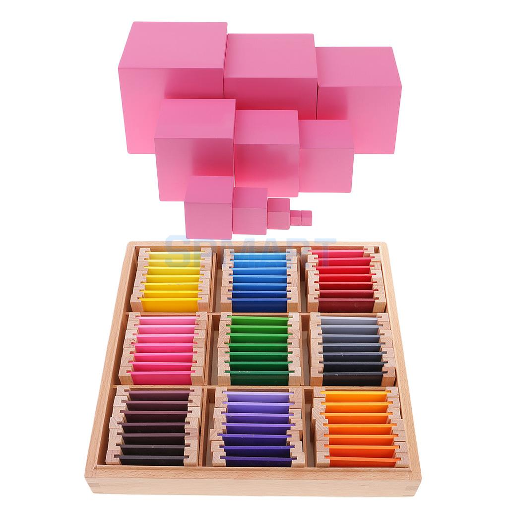 Montessori Wooden Building Pink Tower Blocks + Color Learning Box for Kids Educational Toy
