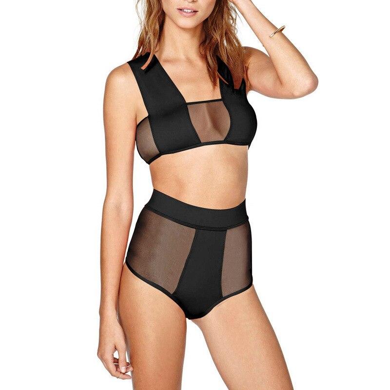Sexy Women See-Through Net Splicing Hollow-Out High Waist Bikini Swimsuit Tankini Two Pieces Bathingsuit Beachwear Swimwear