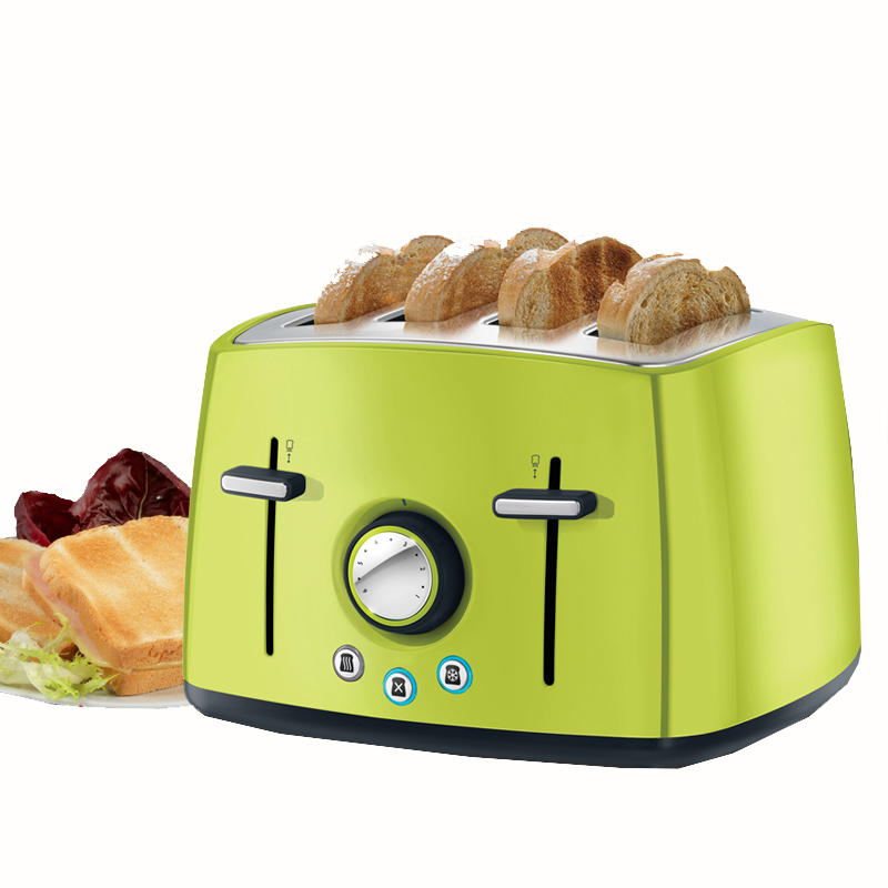 Household Automatic Toaster Multi function 4 Slot Toast Stainless Steel Breakfast Machine With English Manual 6524