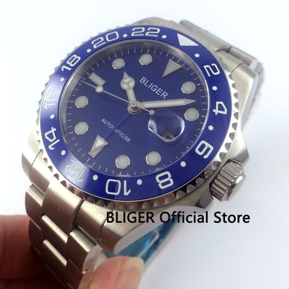 Sapphire Crystal BLIGER 40mm Blue Dial Ceramic Rotating Bezel Luminous Marks Blue GMT Pointer Automatic Movement Men's Watch