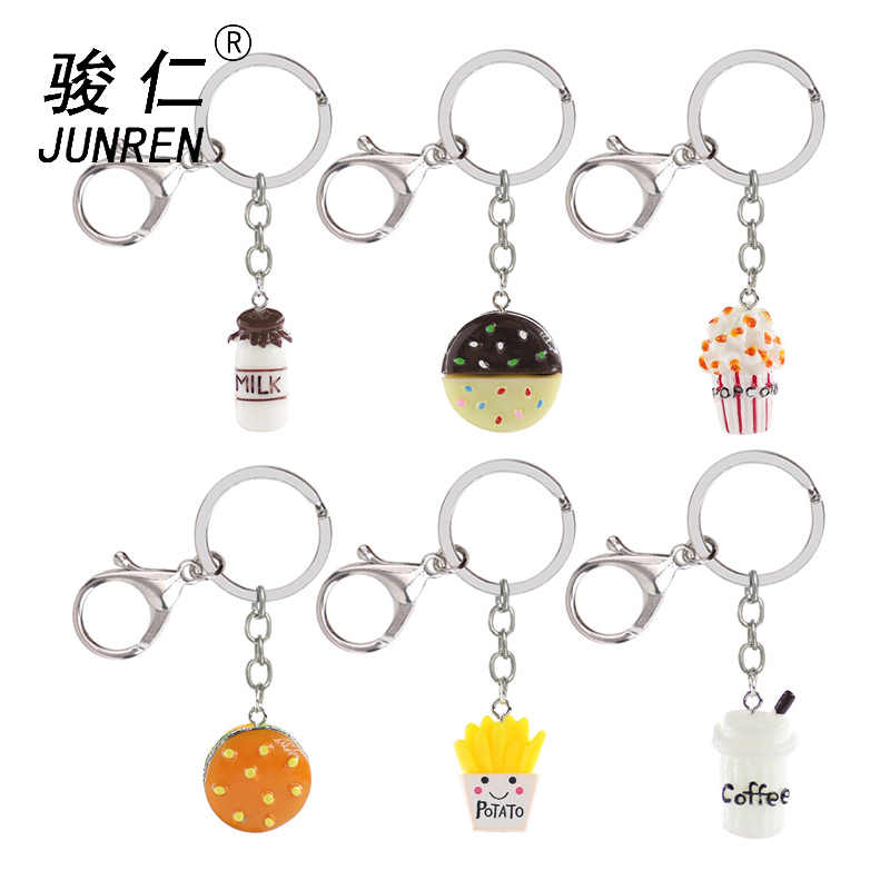 Cute Imitation food Keychain Hamburger fries coffee milk popcorn cookies Key Chain Alloy resin Keyring Accessories Jewelry