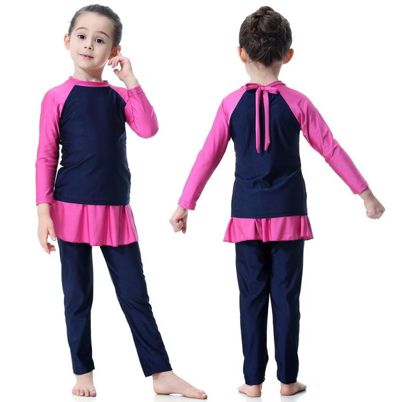 Girls Muslim swimsuit islamic swim wear two piece Long Sleeve Swimsuits Arab Islam Beach Wear Swimming Diving Suits Burkinis