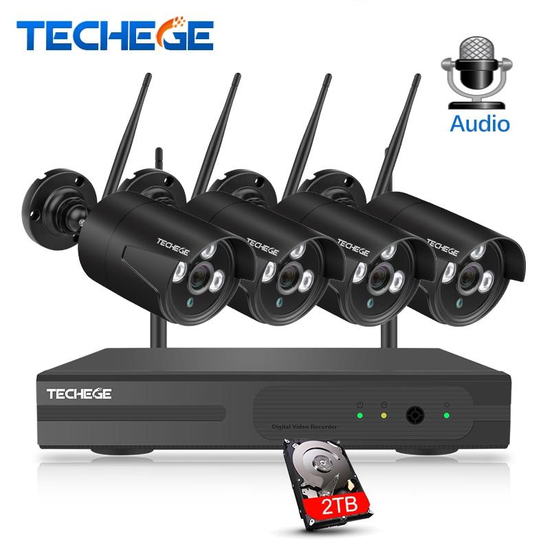 Techege HD 1080 p 4CH Sans Fil NVR CCTV Système 2MP En Plein Air Étanche WiFi IP Caméra Audio Fiche de Sécurité Vidéo Surveillance kit