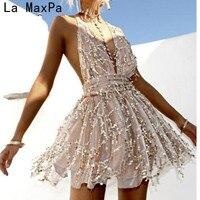 LA MAXPA 2017 Neuheiten sexy kleider frauen Backless halter Schwarz Gold mini kleid partei quaste Sommer kleid club tragen