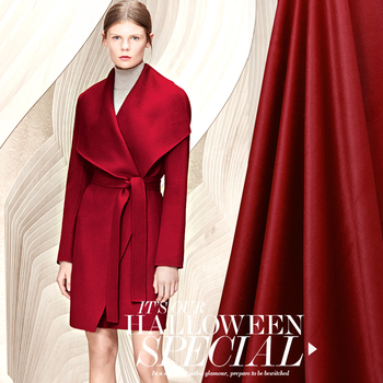 145CM Wide 500G/M Weight Red Solid Color Wool Overcoat Fabric for Autumn and Winter