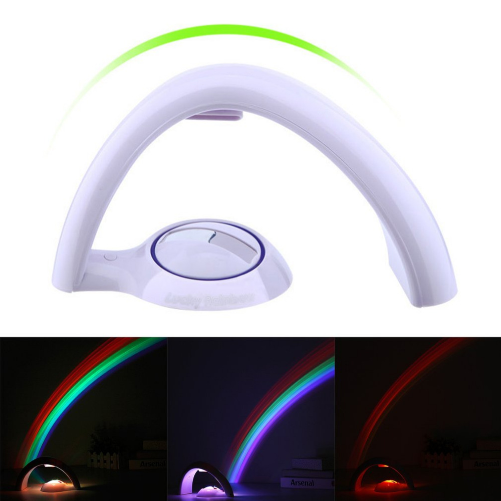 ICOCO Creative Rainbow Projecting LED Lamp Romantic Projector Colorful Night Light Home Room Decoration Baby Sleeping Light