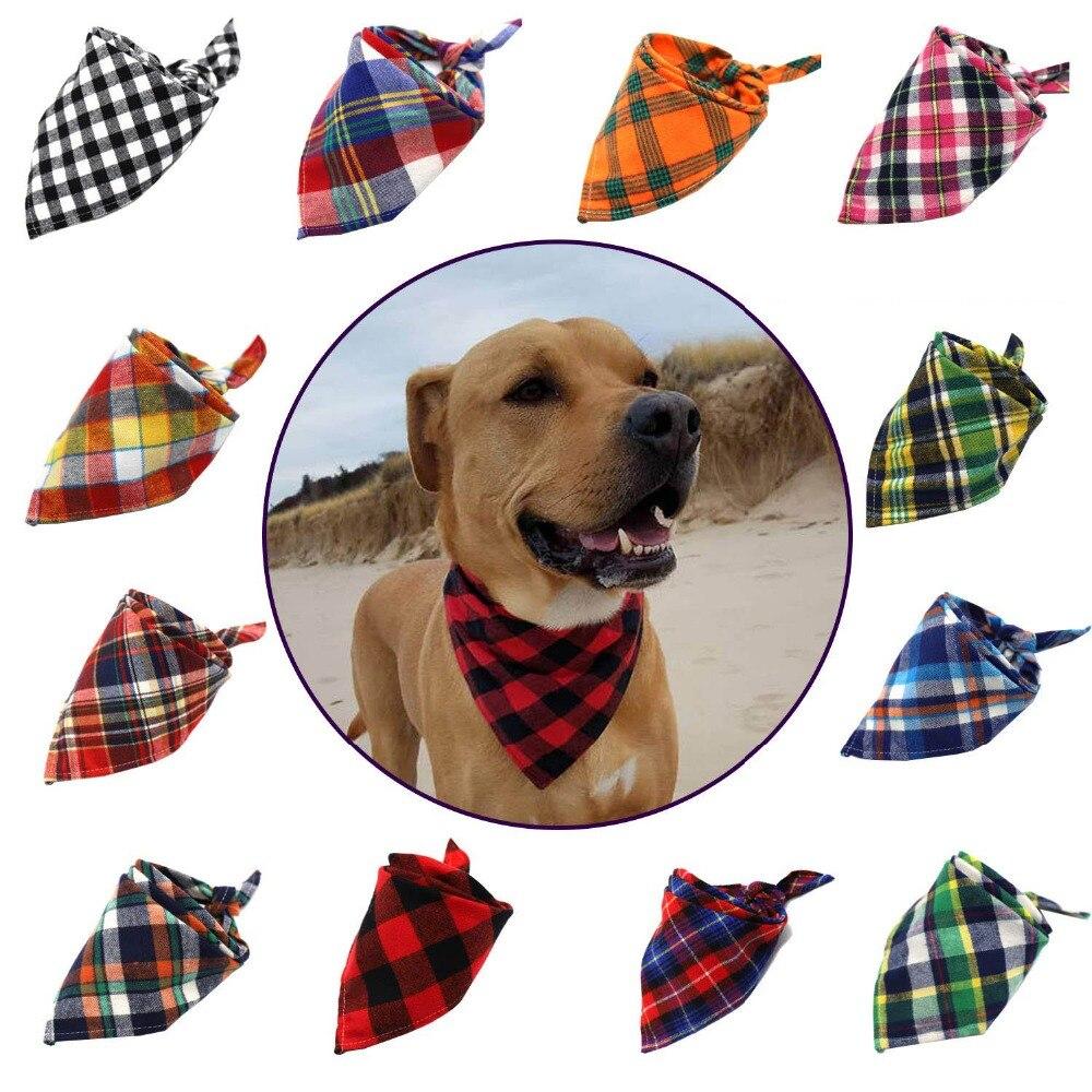 12 colores perro pañuelo bufanda de algodón de tela escocesa cuello bufandas ajuste capaz corbata para el perro de invierno cálido pañuelo para perros y gatos mascotas accesorios a cuadros