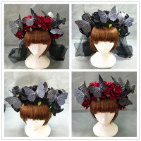 Gothic Halloween Lolita Rose Butterfly Cosplay Sheep horn Rose Flowers Headband Hairband Accessory Headwear Prop Hair Accessory