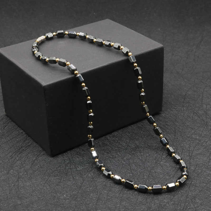 2019 New Simple Classic Health Energy Healing Therapy Beaded Magnetic Hematite Necklace for Men and Women Jewelry LG2