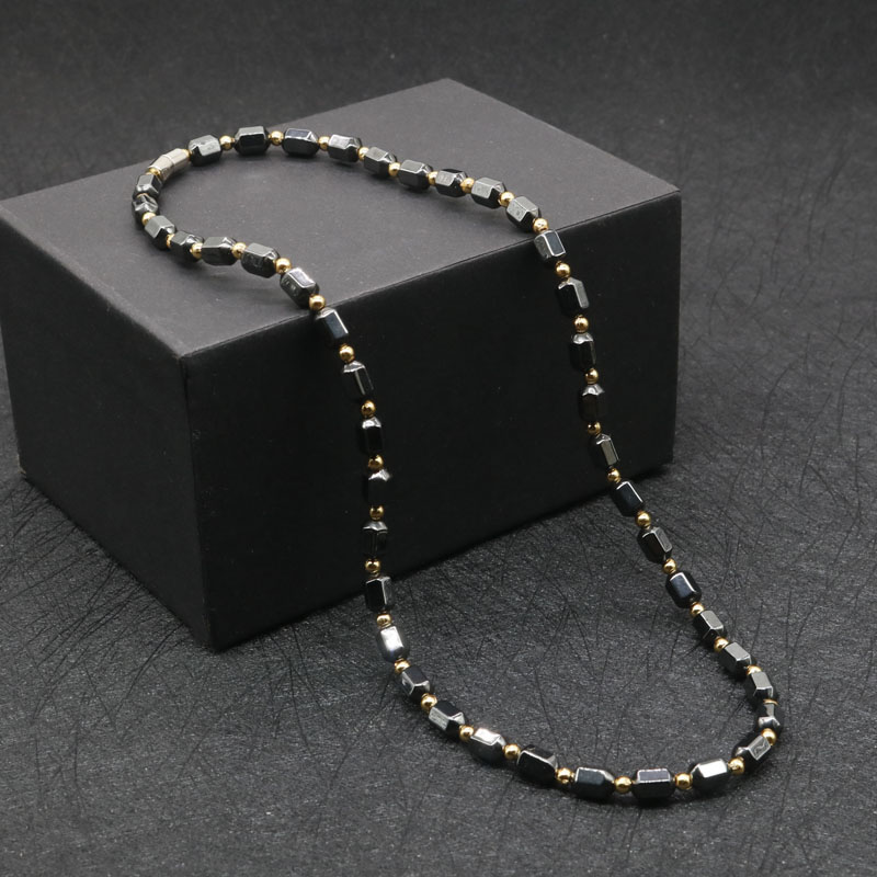 6mm Hematite Magnetic Therapy Necklace with Magnetic Clasp Therapeutic Magnetic Necklace for Men and Women #MHN-124