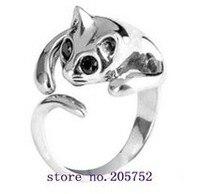 925 Sterling Silver Ring Resizable Finger Cat Ring Four Colours Friendship Rings Free Shipment
