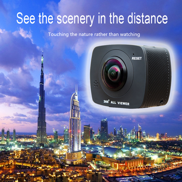 VR PanOramic Camera with Dual 360 Degree Perpendicular 8MP Lens & Remote Control by WIFI Mobile APP & TF Card & Battery Built-in