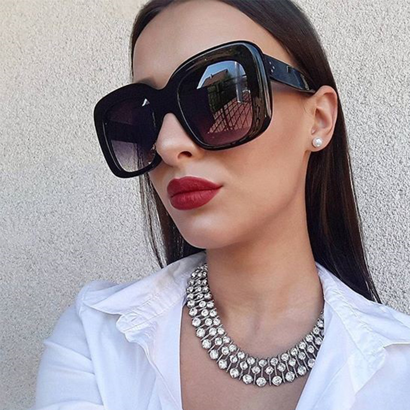 2017 Fashion Square Sunglasses Women Retro Brand Designer Sun Glasses for Female New Summer Oversized Sunglasses UV400 Oculos
