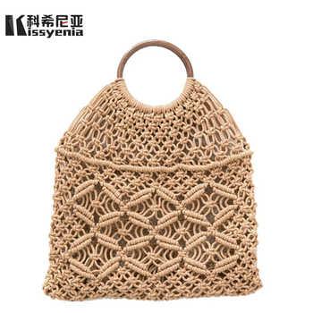 Kissyenia INS New Hot Rattan Bags Bohemia 100% Handmade Straw Handbags Millettia Handle Knitted Summer Tote Wicker Bags KS1207 - DISCOUNT ITEM  48% OFF All Category