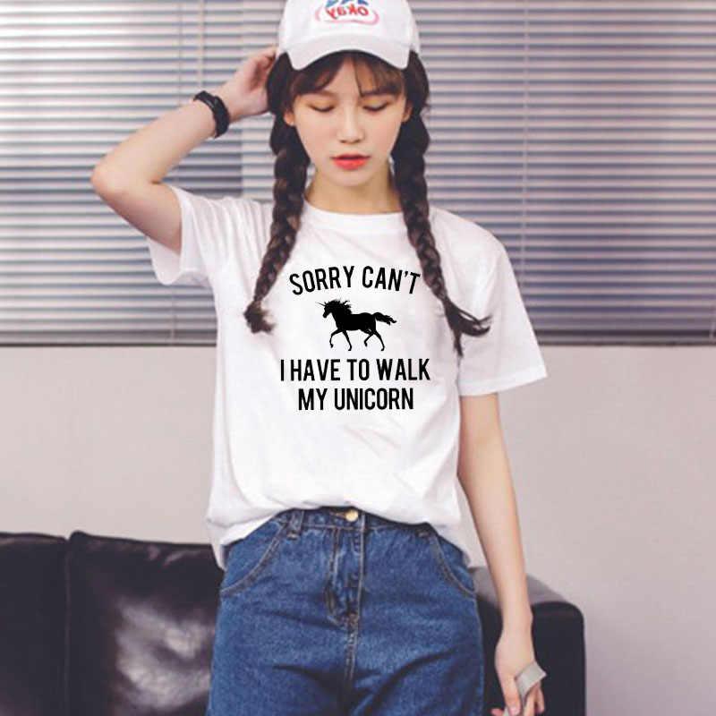 LUSLOS IK HEBBEN LOPEN MIJN EENHOORN Vrouwen My Little Pony Print Zomer Korte Mouwen T-shirt Grappige Vrouwelijke Wit casual Hipster Shirt
