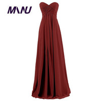 2016 Customized Floor Length Plus Size Slim A Line Strapless Solid Women S Sweetheart Summer Evening