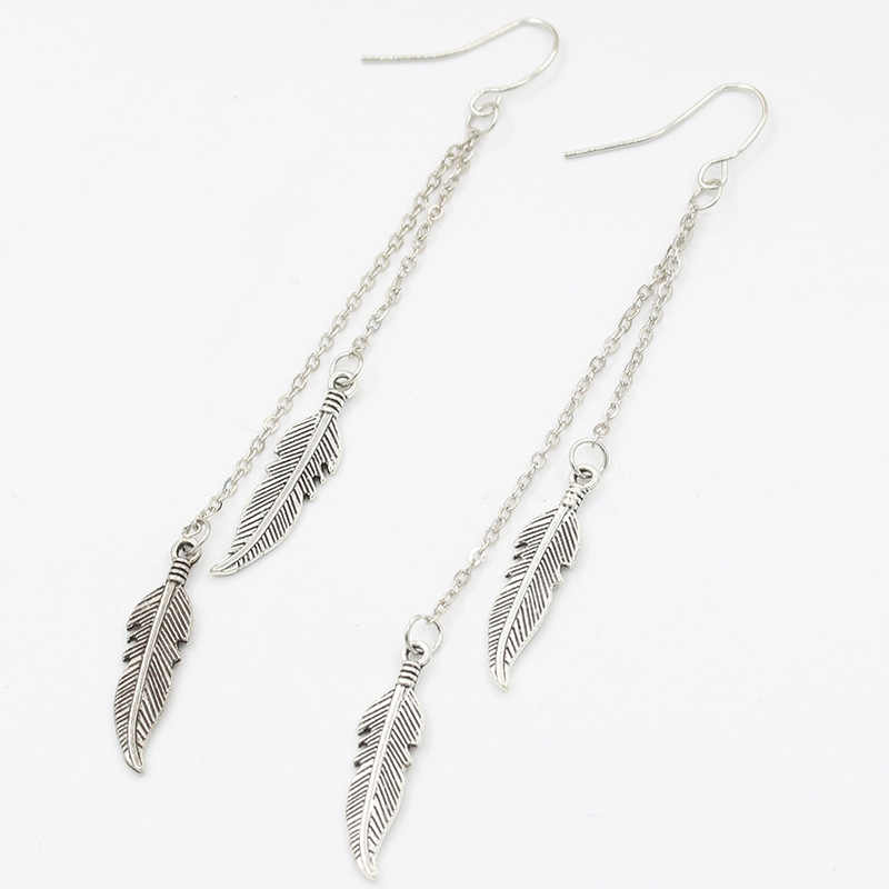 EK982 ใหม่โบฮีเมีย Vintage Dangle ต่างหู Feather ใบใบยาวพู่ Leaf Drop เครื่องประดับต่างหู Brincos Pendientes