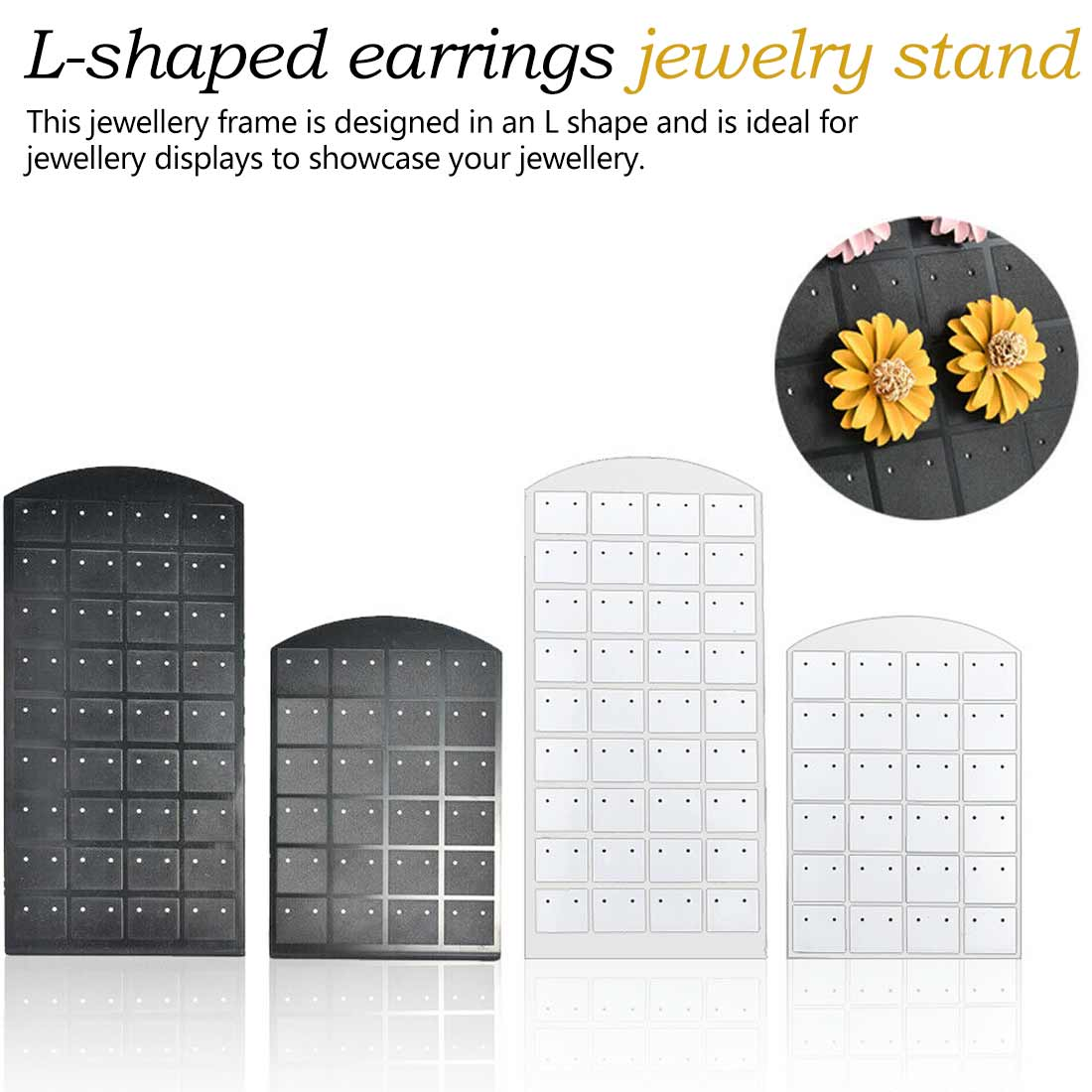 L-shaped Earrings Jewelry Frame 36 Pairs Of 24 Pairs Of 12 Pairs Of Jewelry Black And White Display Stand