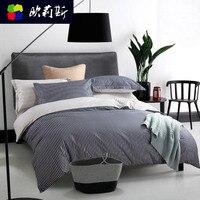 Комплект из 2 предметов 100% хлопок в полоску постельное белье Комплект 1.8 м Двойной простыни домашний текстиль пододеяльник моды