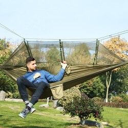Ultraleve acampamento ao ar livre caça mosquito net parachute hammock 2 pessoa flyknit hamaca jardim hamak pendurado cama lazer hamac