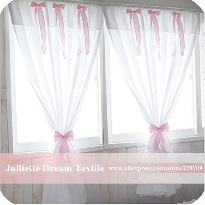 breve cortina de tela dulce arco cortina dormitorio ventana de cortinas para la sala de princesa