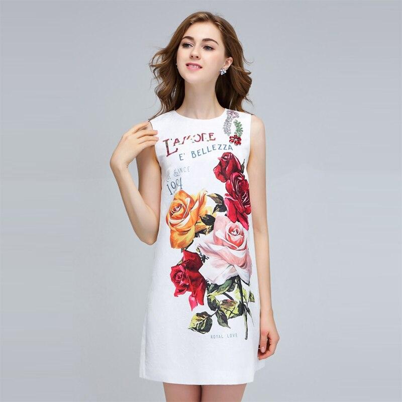 2018 Maniche O Stampa Paillettes Femminile Senza Vestito Lettera Slim Collo Estate Donne Floreale Del Bianco Delle Di Modo Mini Dressss Qualità Alta q17p1C