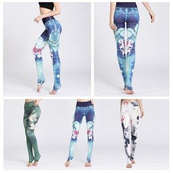 2019 Gym Women Fitness Yoga Pants Slim High waist Sport Leggings Elastic Romantic Printed Long Tights for Running Tummy Control 2