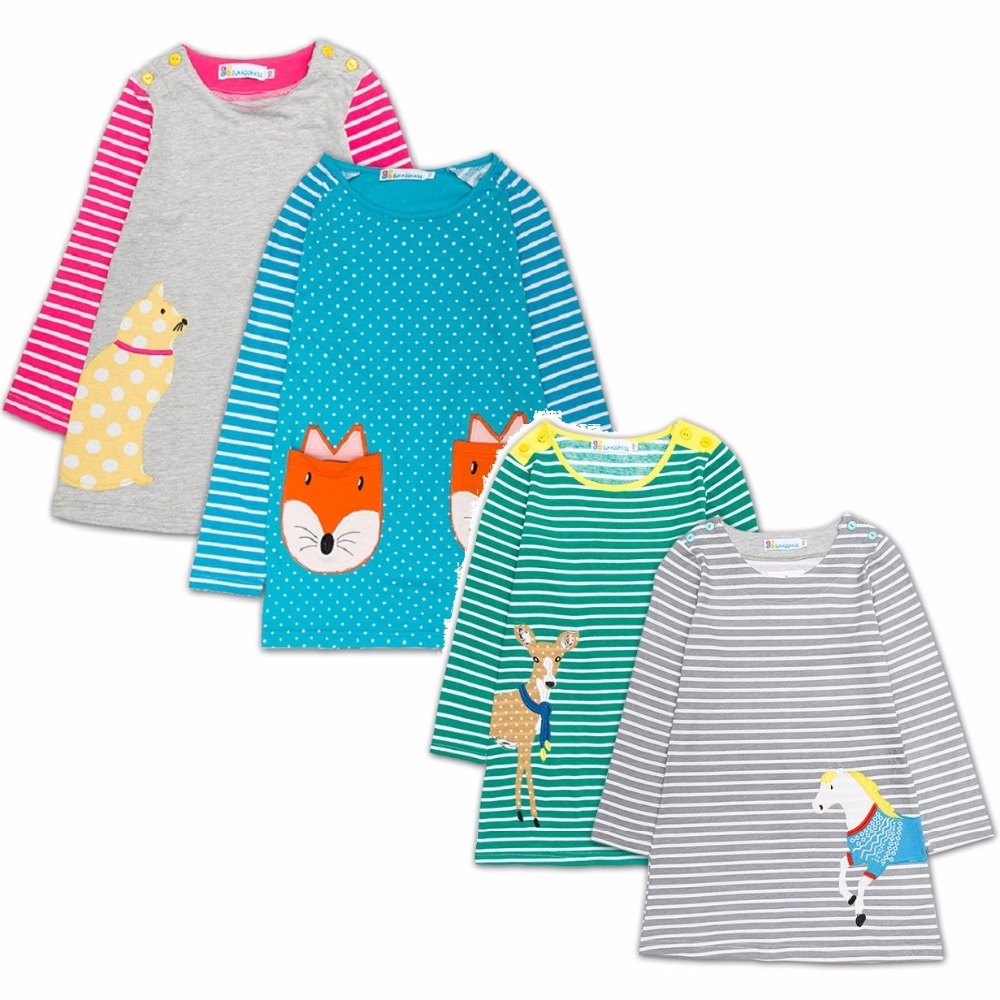 Hooyi Autumn Long Baby Girl Dress Embroidery Blouses 100% Cotton Children Clothes Girls Jumpers One-Piece Dresses Soft Vestidos
