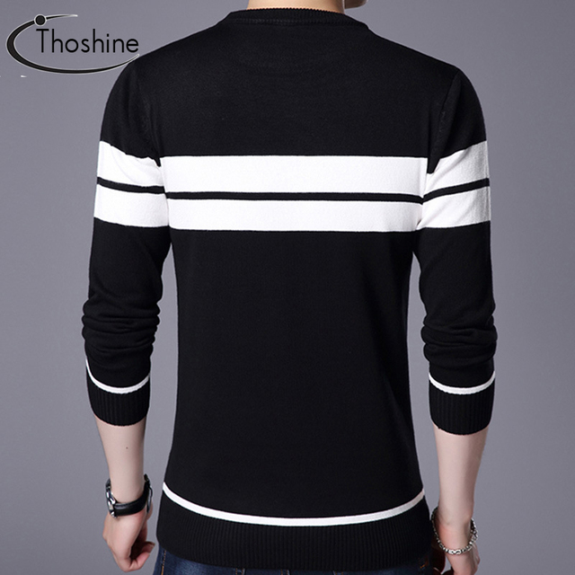 Thoshine Brand Spring Autumn England Style Men Knitted Thin Sweaters Striped Casual Wool Pullovers Male Casual Long shirts Tops
