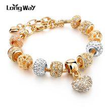 Роскошные браслеты longway с подвесками в виде сердца и кристаллов