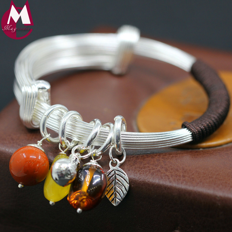 Luxury Jewelry 46g Handmade Leaf Big Natural Amber Red Agate and Beeswax Bangle Women Silver Engagement Wedding Bracelet SB81 46g flock