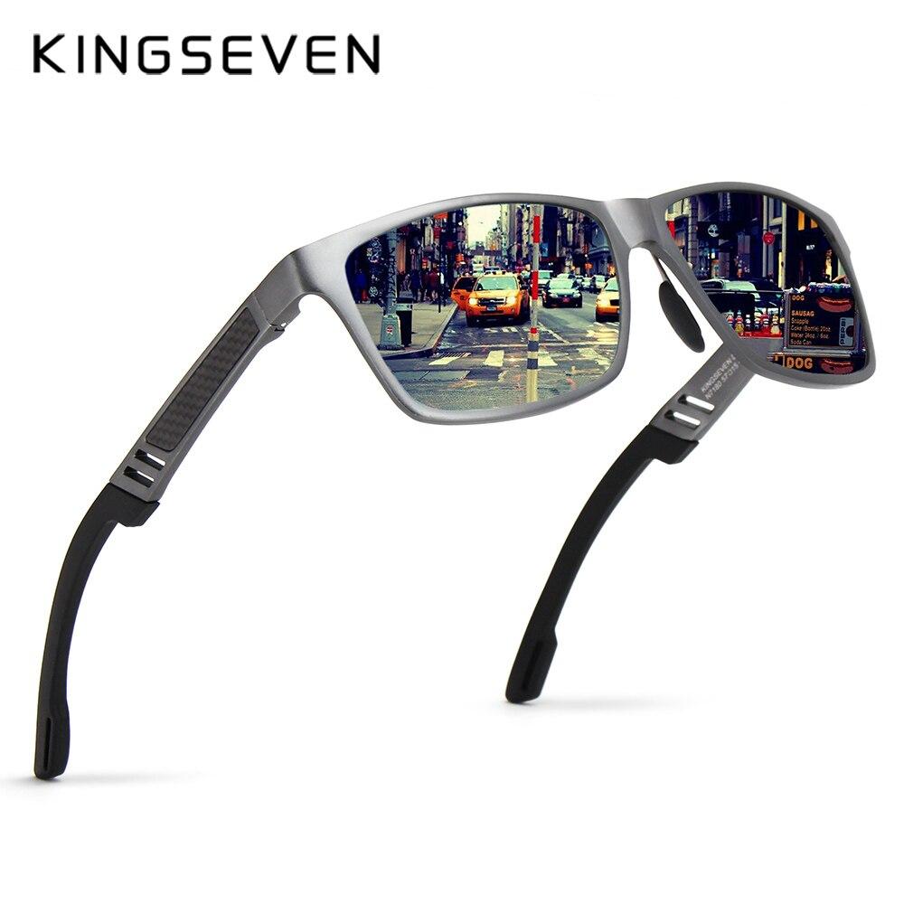5969f615b7d62 KINGSEVEN 2019 Original Espelho De Alumínio E Magnésio Polarizada Óculos De  Sol Da Marca Dos Homens