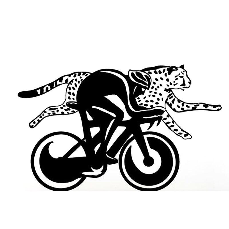 20X12.4CM MAN Racing Cheetah With Bicycle Jungle Africa Fun Vinyl Decals Car Sticker S6-2146 brompton stickers