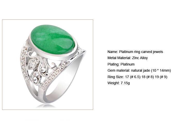 สีเขียวธรรมชาติ Jasper หินโบราณแหวนเงินผู้หญิงการตั้งค่าคริสตัลทิเบตผู้ชายแหวนเครื่องประดับ